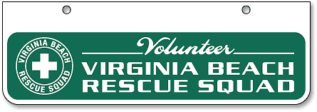 Virginia Beach Rescue Squad half-size license plates (top-mount) - detail