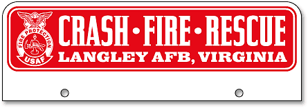 Langley Air Force Base Crash-Fire-Rescue half-size top license plates - detail