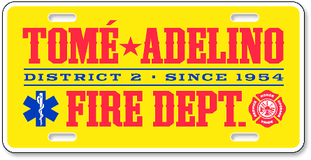 Tomé-Adelino Fire Department custom license plates - detail