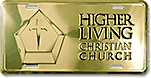 Pricing: 12x6 Deluxe Gold and Silver Screen-Printed Spot-Color Custom Embossed Aluminum License Plates (Higher Living Christian Church design sample)